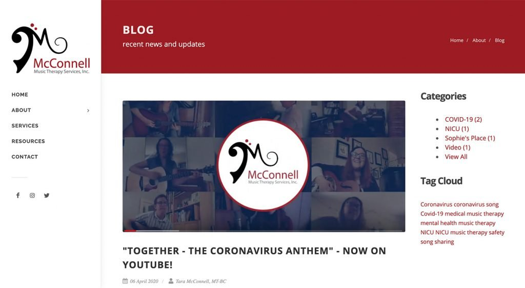 McConnell Music Therapy Services Website - Blog Page