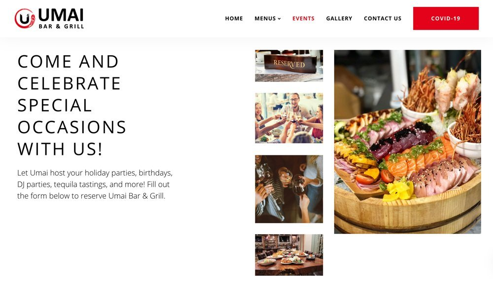 Umai Bar & Grill Website Events