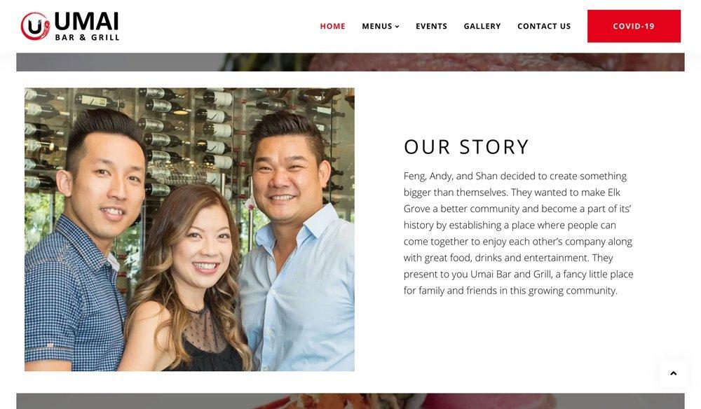"""Umai Bar & Grill Website """"Our Story"""""""