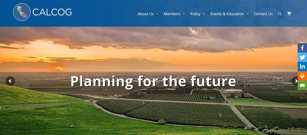 Mockup of the new California Association of Councils of Governments website Home page