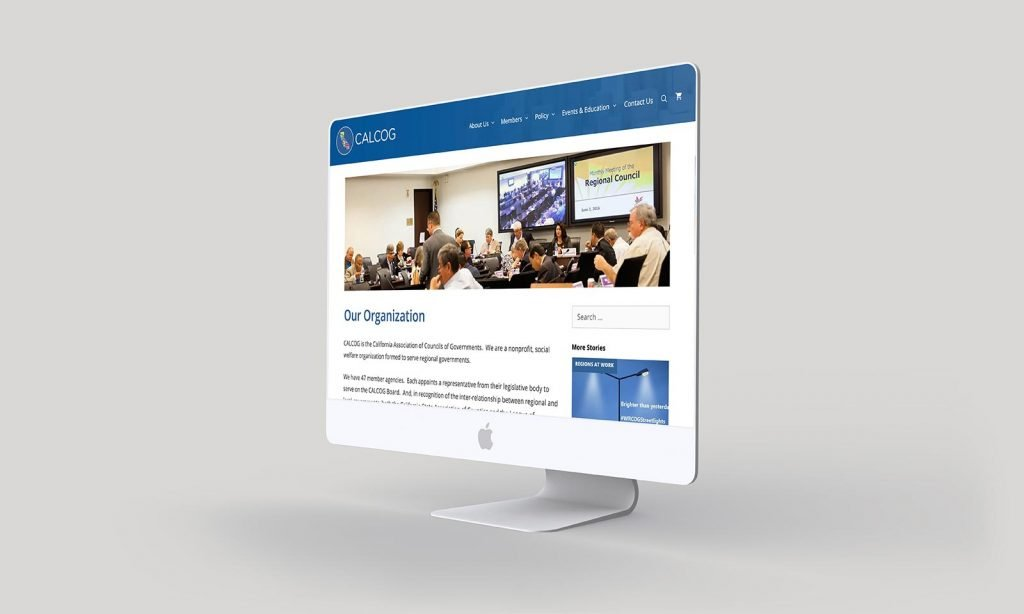 Mockup of the new California Association of Councils of Governments website Organization page