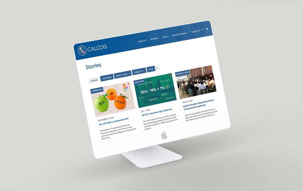 Mockup of the new California Association of Councils of Governments website Stories page