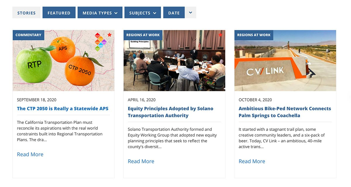 View of the CALCOG stories grid, utilizing Essential Grid